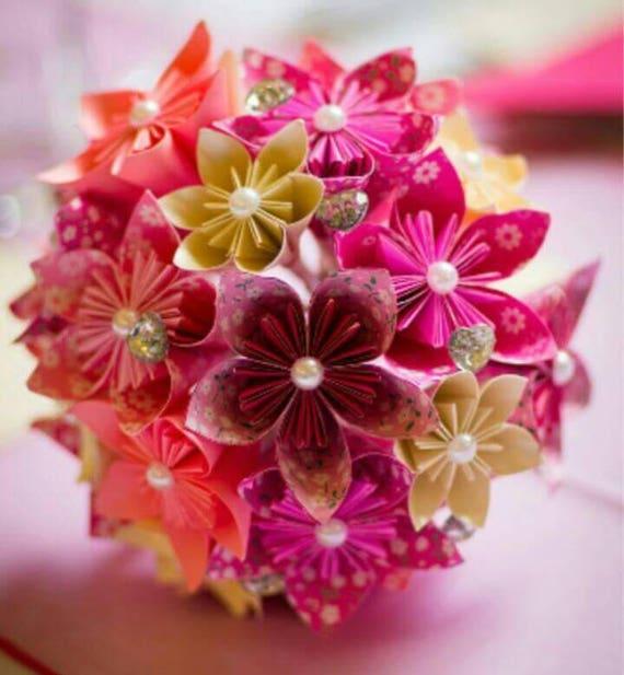 Papier Fleur Origami Bouquet Mariage Cristaux Sur Mesure De Etsy