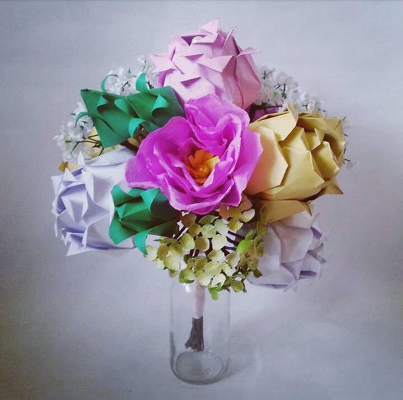Paper origami flowers wedding anniversary bouquet roses etsy image 0 mightylinksfo