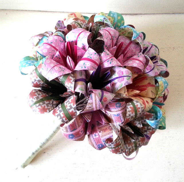Origami Wedding Flowers: Paper Flower Origami Wedding Bouquet Alternative Bride