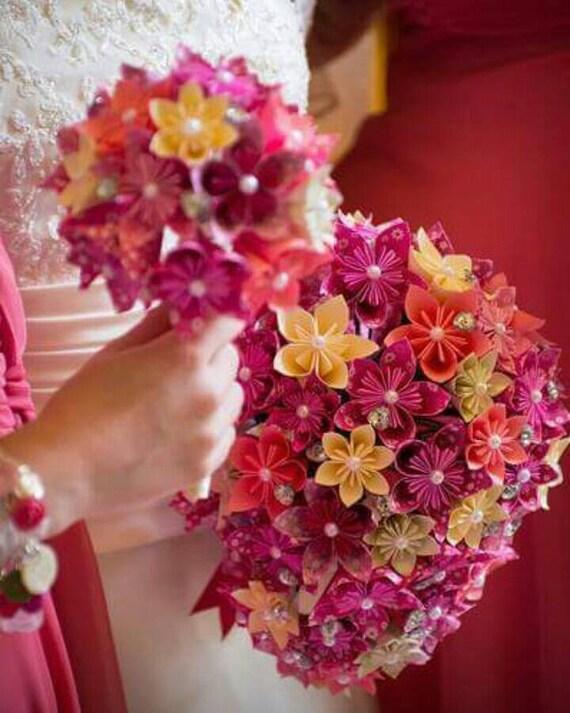 Papier Fleur Origami Bouquet Mariage Cristaux Cascade Tear Etsy