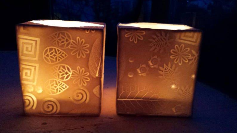 Pair of TealightTea-Light Nightlight Holders Handmade Semi-Translucent Cube Shaped.