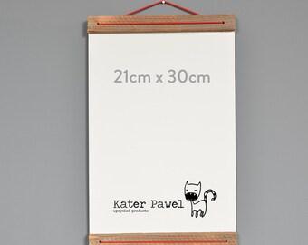 Holz Plakat Aufhänger Für A4 Drucke Aus Recycletem Holz // Unikat Mit  Rückwand // Foto Aufhänger