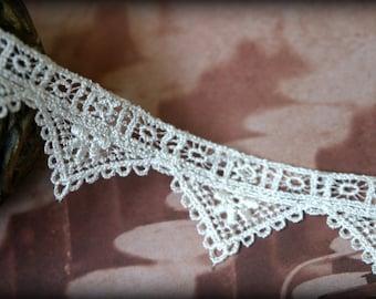 Tresors  Lace Trim in Ivory, Venice Lace, Guipure Lace, Antique Lace, Bridal Lace, Ivory Lace Trim, Crafting Lace LA-056