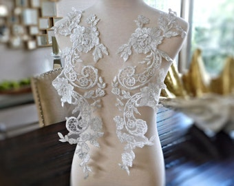 "Beautiful Heavily Beaded Ivory Bridal Lace Applique Set, Bridal Applique, Wedding Applique, Dressmaking, Bridal Veil 20""x5.5"" GD-96434WBP"