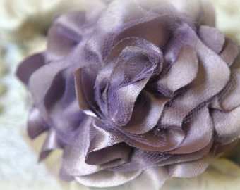 Tresors  Grape Satin and Tulle Fabric Flowers, for Headbands, Clothing, Sashes, Altered Art, approx. 4 inches across, EM-015