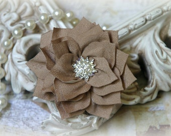 Tresors   Tan  Flowers with Large Rhinestone Center, for , Clothing, Sashes, Altered Art, approx. 3 inches across, EM-008