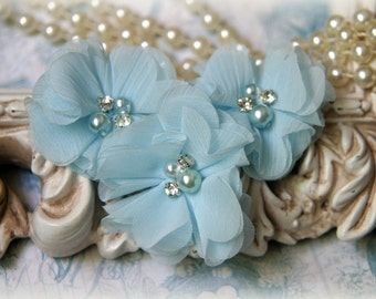 Light Blue Chiffon Flowers with Pearls and Rhinestone Center, for Headbands, Clothing, Sashes, Set of 3, approx. 2 inches across, FL-171