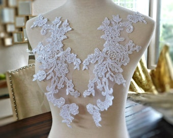 "Beautiful Heavily Beaded White Bridal Lace Applique Set, Bridal Applique, Wedding Applique, Dressmaking, Bridal Veil 15""x5"" GD-96437WBP"