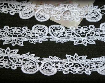 White Venice Bridal Embroidered Applique Crafting Fabric Lace Trim LA-050