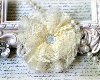 Tresors   Large Ivory Lace Flowers For Headbands, Sashes, Clothing, Crafting etc Approx. 4 inches across  FL-125