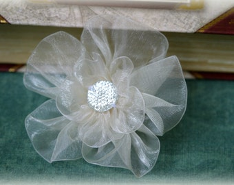 Tresors   Ivory Organza Bridal Crafting Fabric Flower with Decorative Center Approx. 3 inches across FL-038