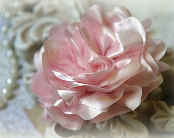 Tresors   Light Pink Satin and Tulle Fabric Flowers, for Headbands, Clothing, Sashes, Altered Art, approx. 4 inches across, EM-013