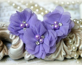 Lilac Chiffon Flowers with Pearls and Rhinestone Center, for Headbands, Clothing, Sashes, Crafting,Set of 3, approx. 2 inches across, FL-175