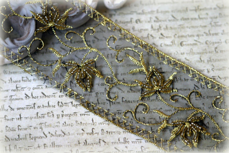 Garniture de tresors perles feuille brodée motif décoratif pour robes, robes l'artisanat, LA-164, bandeaux, ceintures, robes robes, Haute Couture d4e6a7