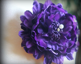 Tresors  Purple Fabric Flower Clip and Brooch ~ With Rhinestone and Pearl Center ~ has both clip and brooch attachment FL-227