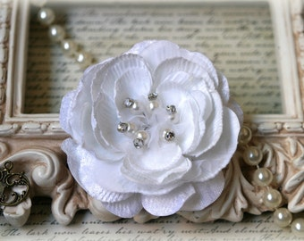 White Velvet and Organza Flowers with Pearl and Rhineston Center For Headbands, Sashes, Crafting etc Approx. 3.75 inches across  FL-117