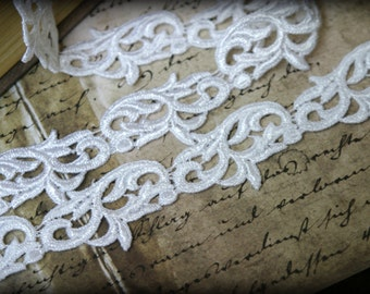 Tresors  White  Venice Fabric Bridal Embroidered Craft Sewing Lace Trim LA-035