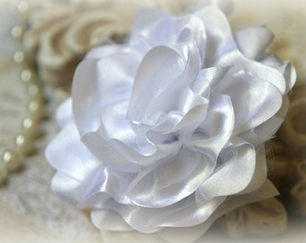 Tresors   White  Satin and Tulle Fabric Flowers, for Headbands, Clothing, Sashes, Altered Art, approx. 4 inches across, EM-019