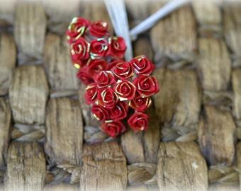 Tresors  Pack of 24 Metallic Red Shabby Chic Roses 8mm across PF-035