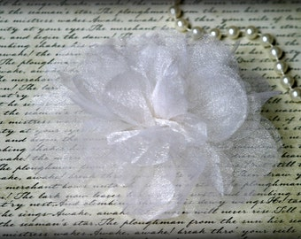 White Organza Flowers with Layers Upon Layers of Lush Organza for Millinery, Headbands, Crafts Approx. 5.50 inches across FL-059