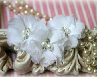White Chiffon Flowers with Pearls and Rhinestone Center, for Headbands, Clothing, Sashes, Crafting,Set of 3, approx. 2 inches across, FL-167