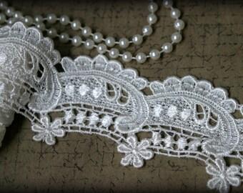 Tresors  Ivory Venice Lace Embroidered Guipure Lace Trim LA-065