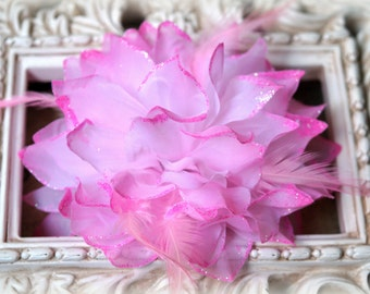 Tresors   Large Pink Fabric Flowers with Feathers and Glittered Edges approx. 6 inches FL-147