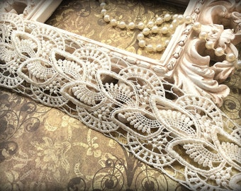Tresors Ivory Venice Lace Trim, Beautiful Vintage, Lace Appliques, Bridal Gowns, Couture Gowns, Dresses, Crafting MA-009
