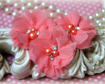 Peach Chiffon Flowers with Pearls and Rhinestone Center, for , Clothing, Sashes, Crafting,Set of 3, approx. 2 inches across, FL-173