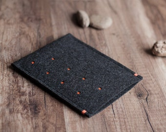 Kindle Paperwhite cover, Voyage, Oasis, Fire cover case, dotted anthracite felt, handmade