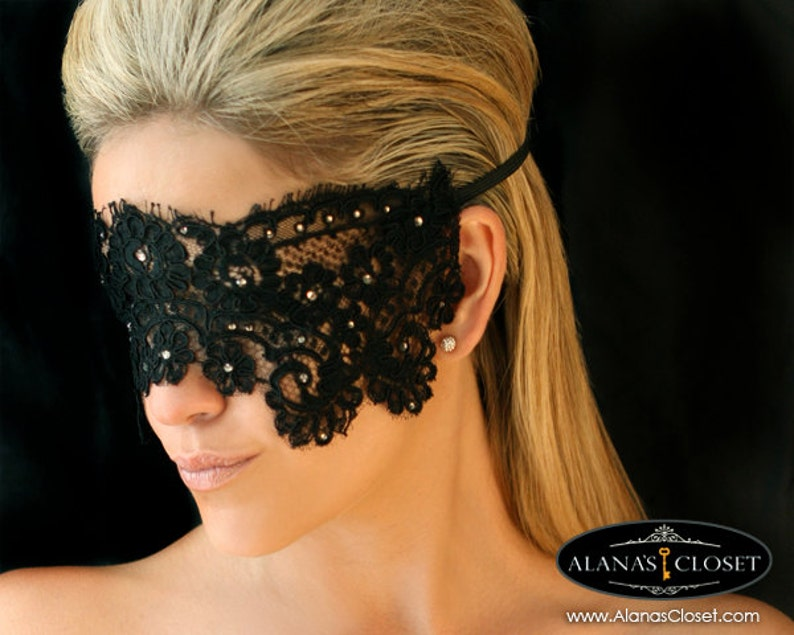 Black Lace Eye Veil Mask Aria image 0
