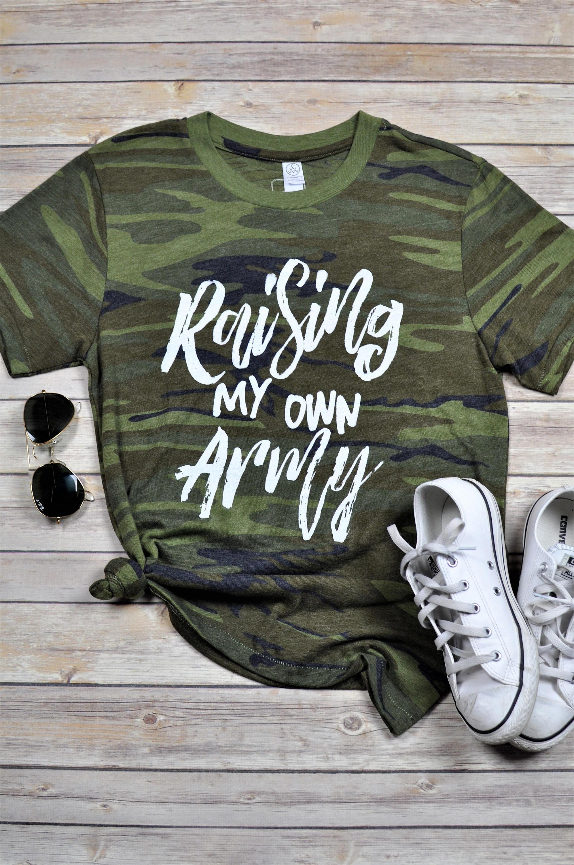 Adulte « Lever ma propre armée » tee, vêtements de maman, maman, t ... dfe49698801