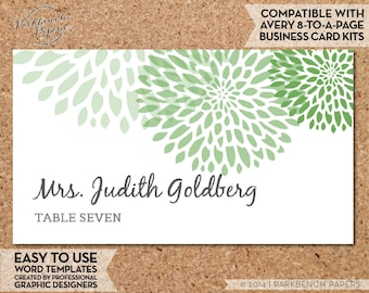 place card template mums grass diy editable word template instant download printable avery compatible