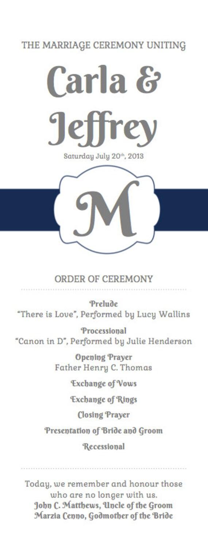 wedding program template order of ceremony program wedding etsy