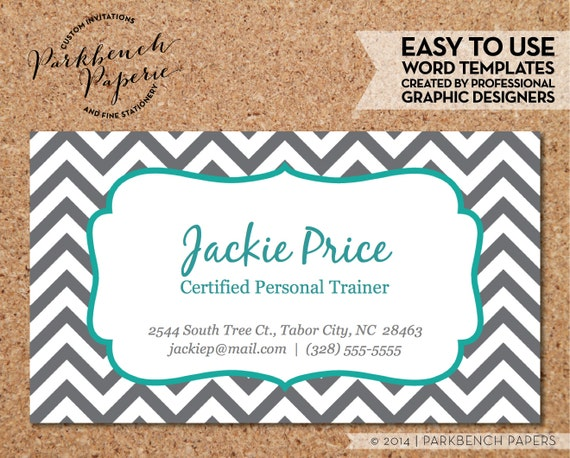 Business Card Template Gray Chevron & Teal Frame DIY