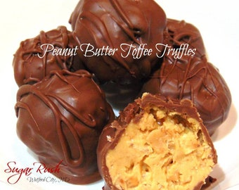 Peanut Butter Toffee Truffles, Milk Chocolate Dipped