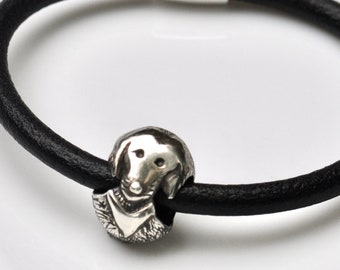 """leather bracelet with Silver Dog Charm """"LUKAS"""""""