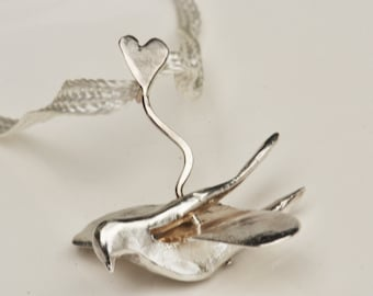 silver pendant Carrier Pigeon
