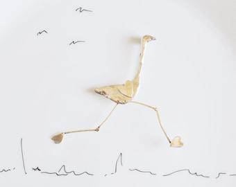 "Silver Brooch ""Big bird in Love"""