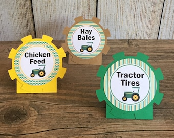 Tractor Food Tent Cards - Tractor Birthday, Farm Party - Buffet Labels - Green,Yellow,Black,Kraft - Tractor Party - Set of 12 custom printed