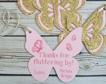 Butterfly Favor Tags - Pink & Gold Glitter Butterfly Gift Tags - Party Favors - Butterfly Birthday - Pink/Gold Glitter Butterfly Party