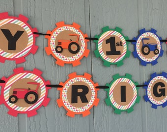 Tractor Birthday Banner - Personalized with Name & Age - Colorful, Rustic Tractor Birthday - Farm Birthday - Tractor Party