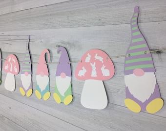 Gnome Garland - Easter Gnomes - Garden Gnomes - Springtime Gnome Garland - Gnome Banner - Gnomes & Mushrooms - Spring Garland - Easter Decor