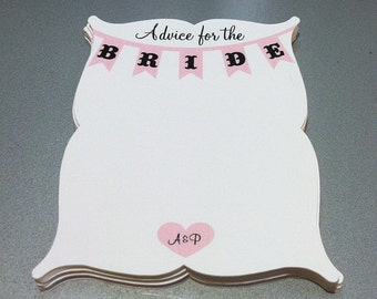 Advice for the Bride Cards - shower advice cards, 3x4 - Personalized - Customizable - Weddings, Bridal Showers - set of 15