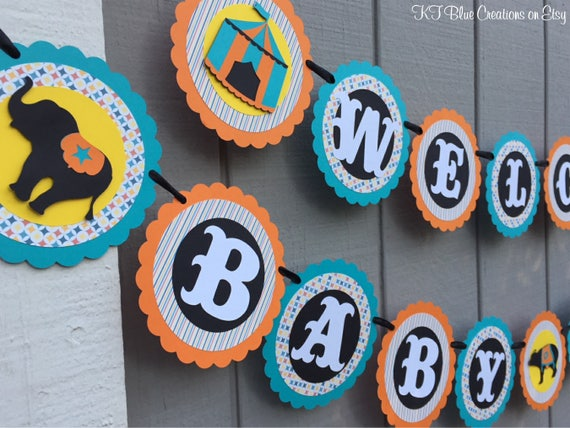 Circus Baby Shower Banner Personalized Teal Orange Black