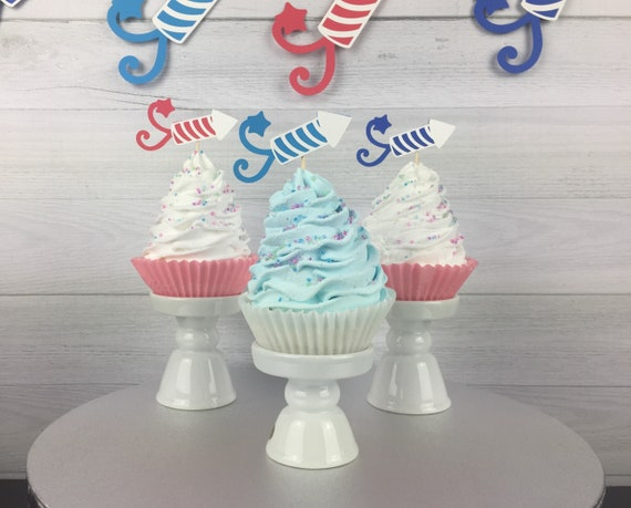 Patriotic Star Cupcake Toppers 4th of July 1st Birthday Fourth of July Party 4th of July Baby Shower Cupcakes Little Firecracker Party