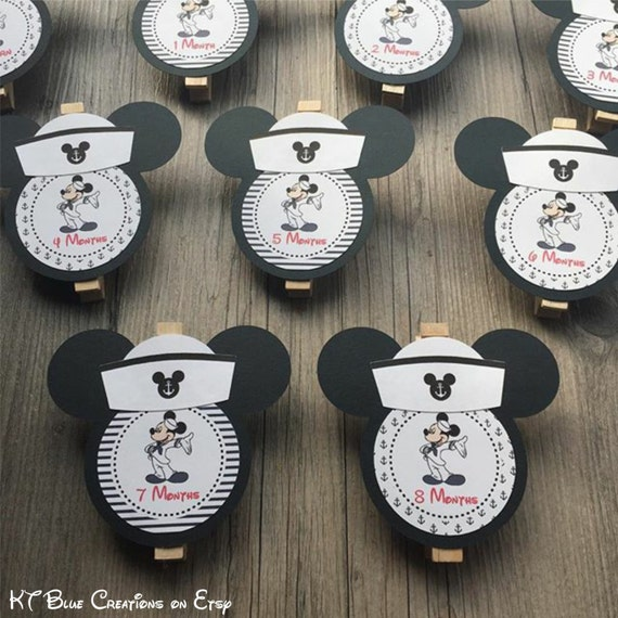 Mickey Mouse Sailor First Year Photo Clips First Year Banner Nautical Mickey Theme Sailor Mickey Banner Mickey Photo Banner