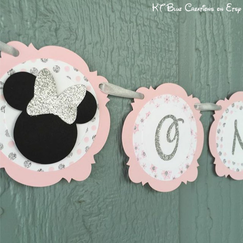 Minnie Mouse banner One or Two banner 1st or 2nd birthday Shabby Chic Silver GLITTER /& Pale Pink Minnie Mouse Highchair Banner
