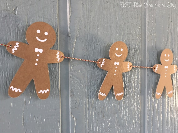 Gingerbread Man Garland Holiday Cookie Banner