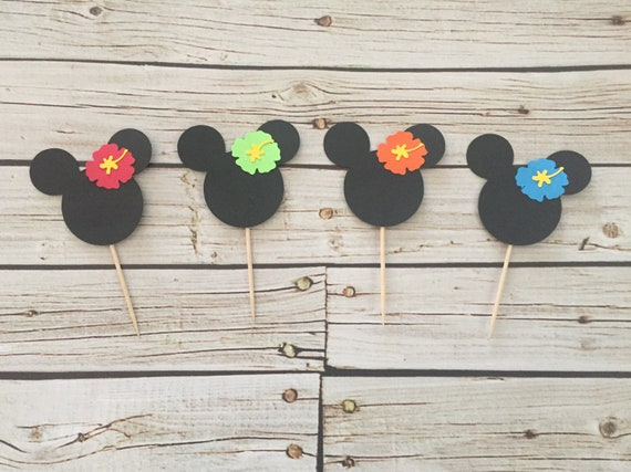 Hawaiian Mickey Cupcake Toppers Mickey Luau Birthday Hibiscus
